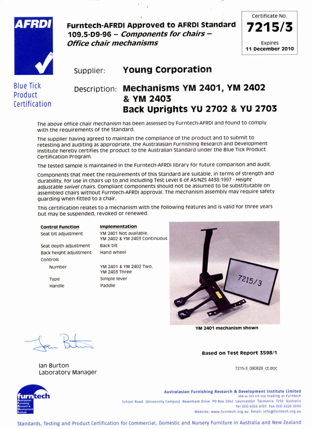 Certificate by Furntech-AFRDI YM 2401 Mechanism