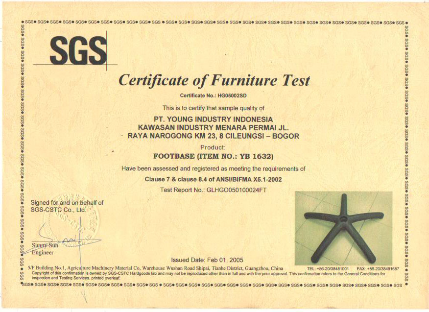 Certificate of Furniture Test YB 1632
