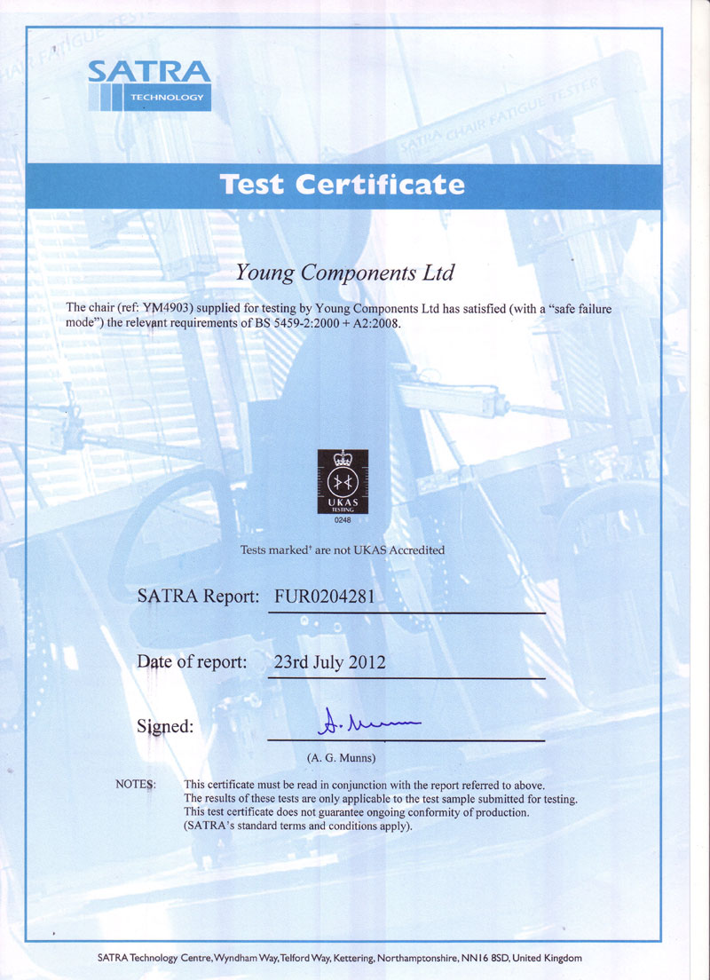 SATRA Test Certificate YM 4903
