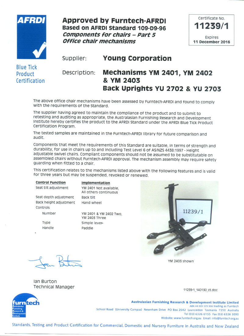 Certificate by Furntech-AFRDI YM 2401