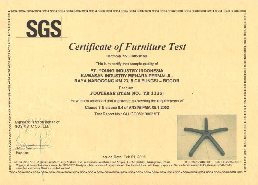 Certificate of Furniture Test YB 1135