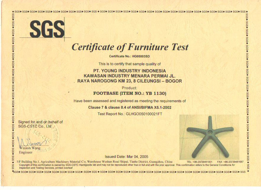 Certificate of Furniture Test YB 1130