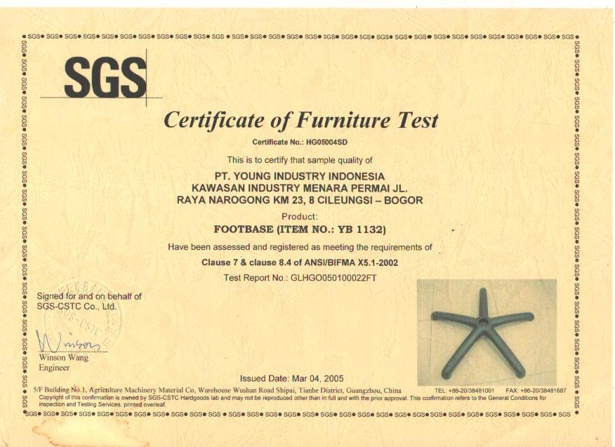 Certificate of Furniture Test YB 1132